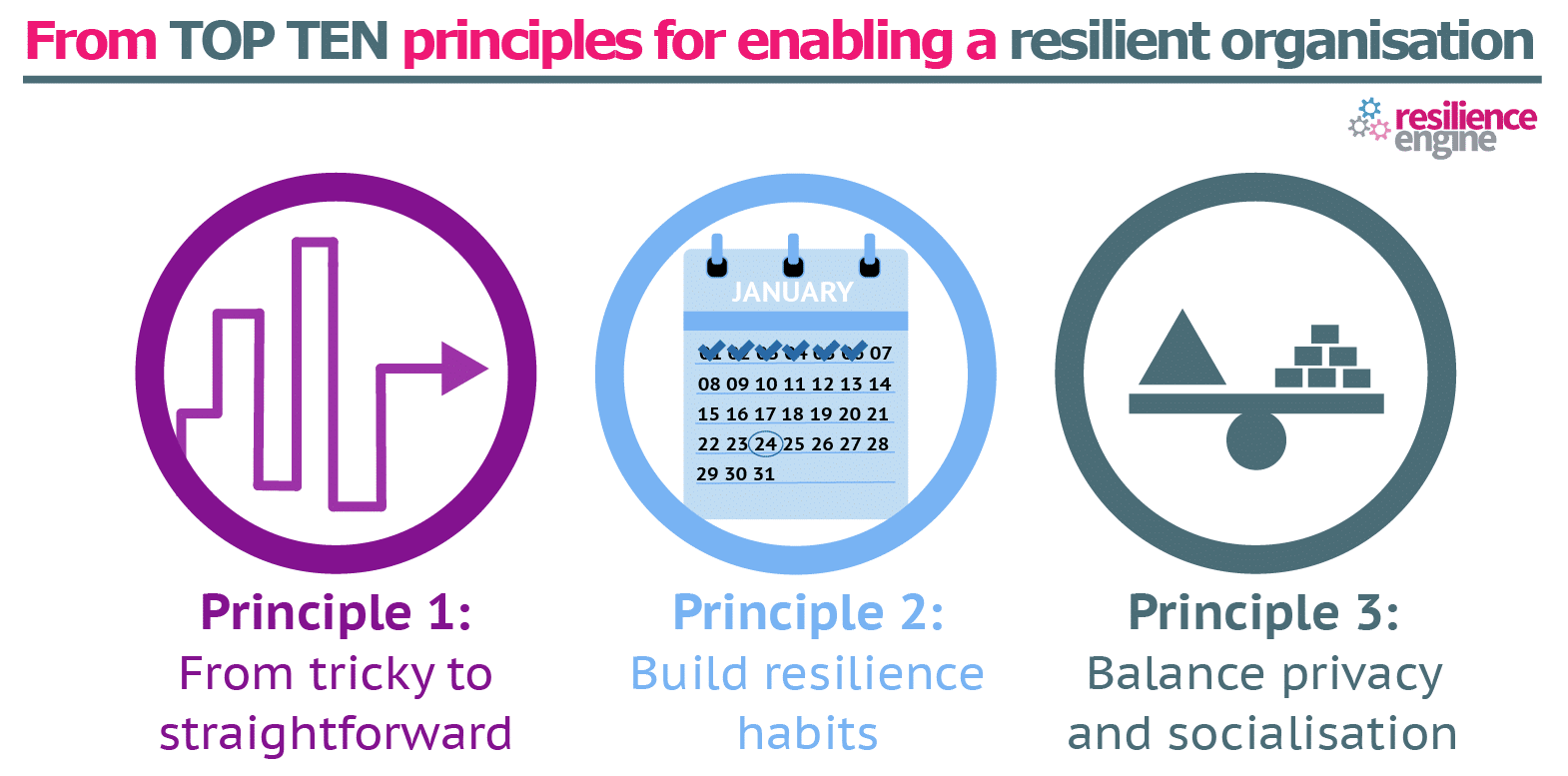 Resilience Engine, top ten principles, resilient organisation, build resilience habits, good habits, being resilient